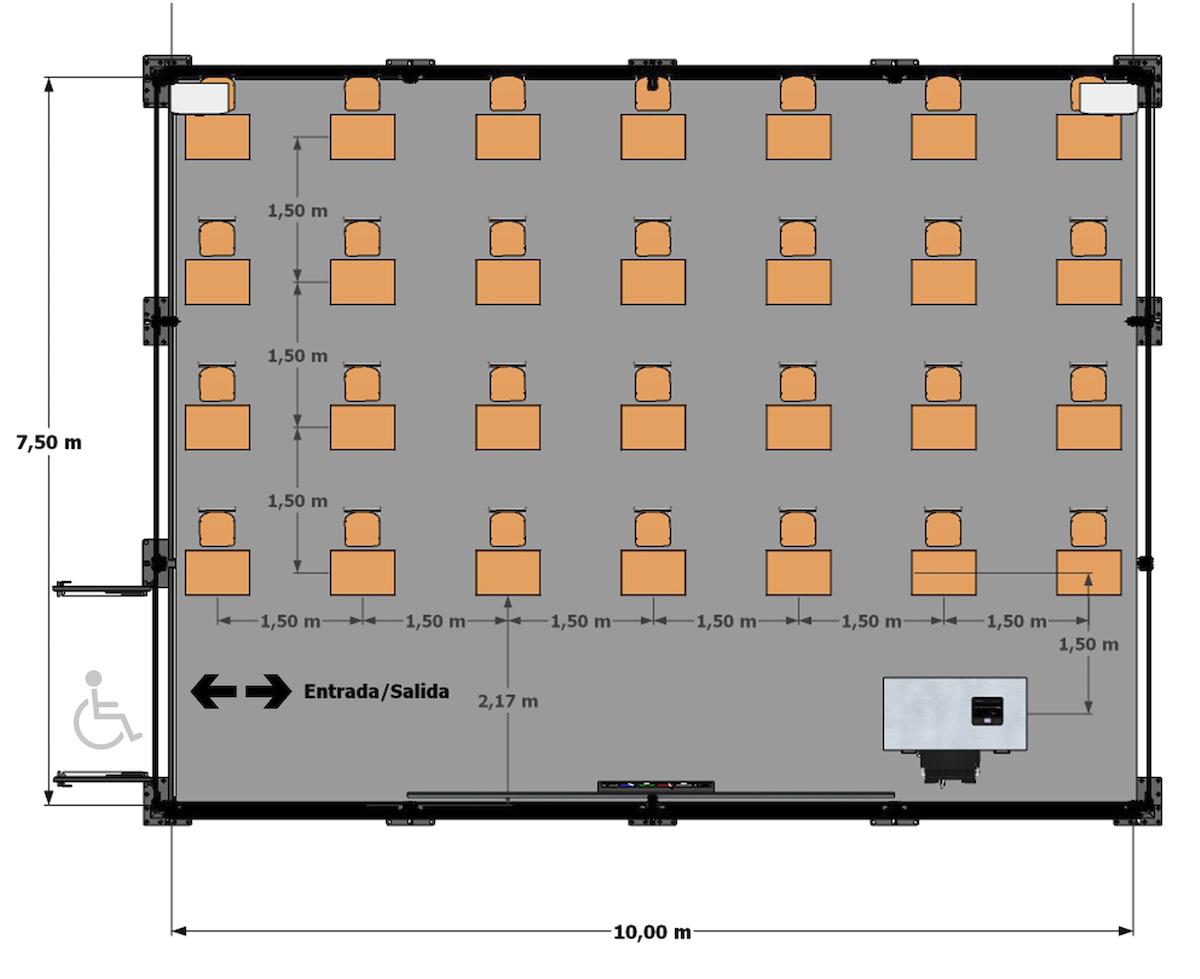 capacidad aula prefabricada