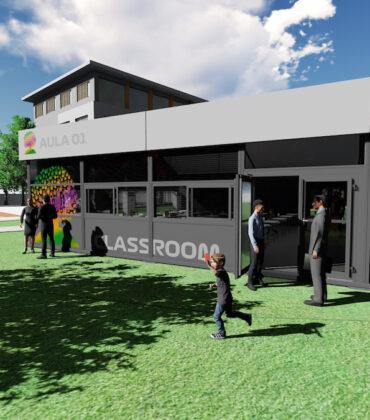 exterior aula prefabricada